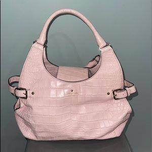 Kate Spade pale pink crocodile print leather bag